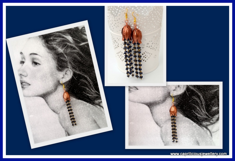 Iolite tassel earrings with a tulip beadcap  by Caprilicious Jewellery