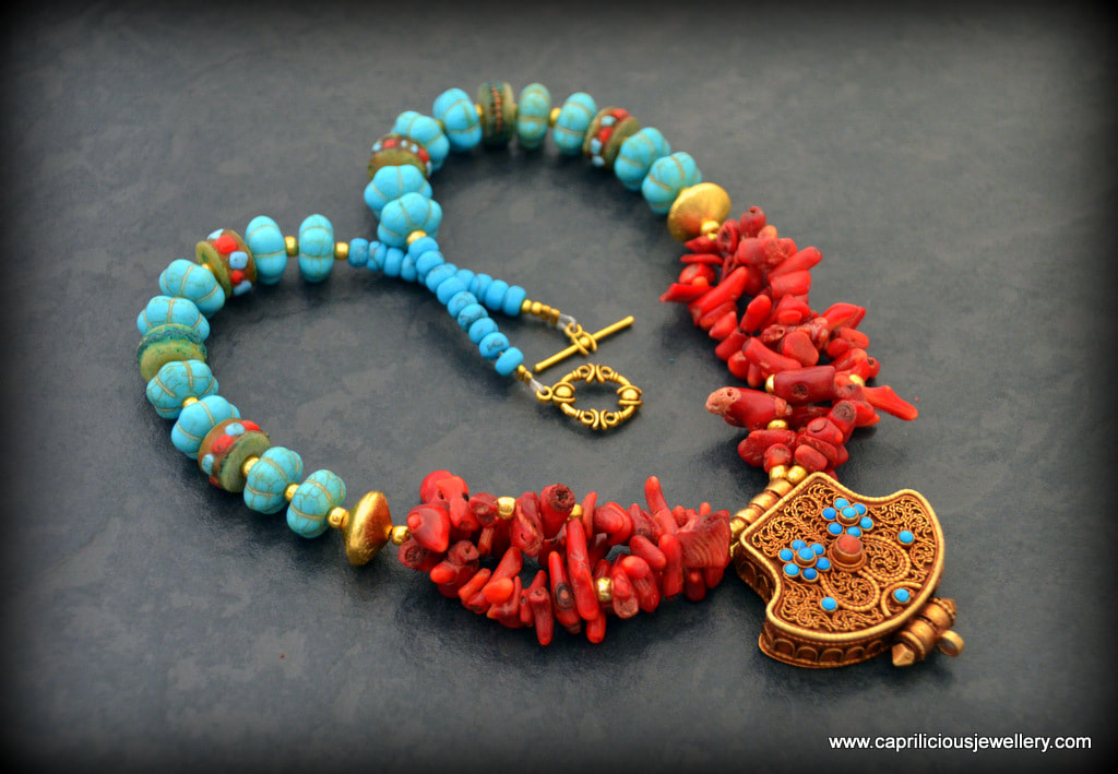 Kalachakra Ghau box with a coral and howlite necklace by Caprilicious Jewellery