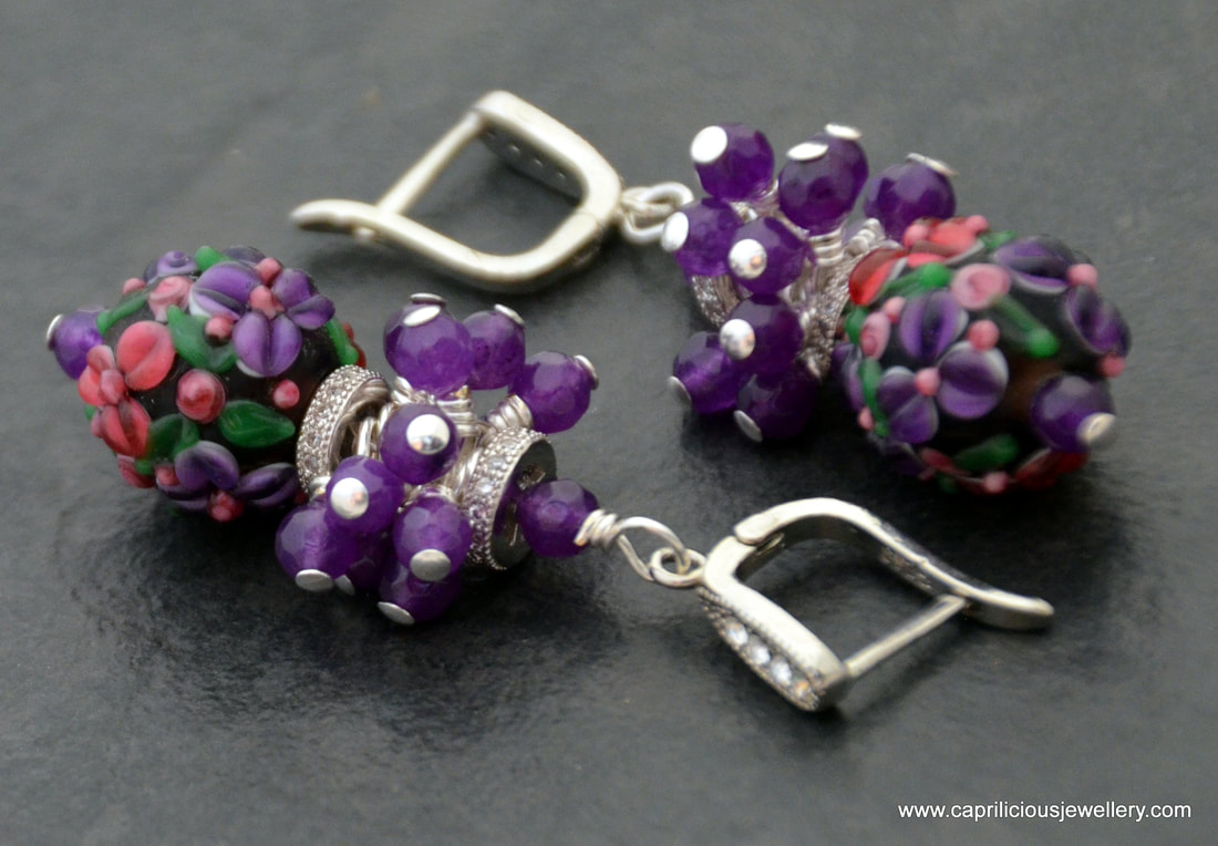 earrings, lamp work glass beads, handmade, amethyst