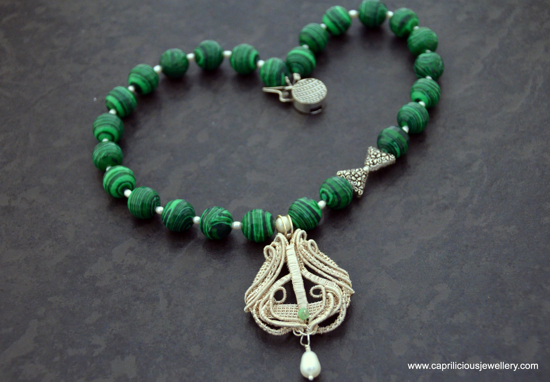 Wire work pendant on a malachite necklace by caprilicious Jewellery