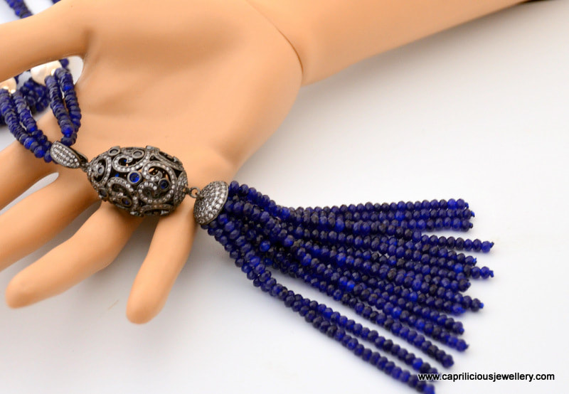 Blue jade and pearl necklace, with a detachable pendant, diamante' , tassel, Caprilicious Jewellery
