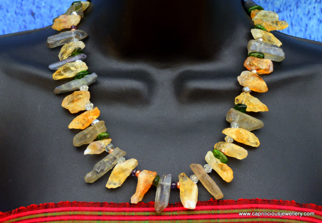 Raw Citrine nuggets and quartz necklace by Caprilicious Jewellery