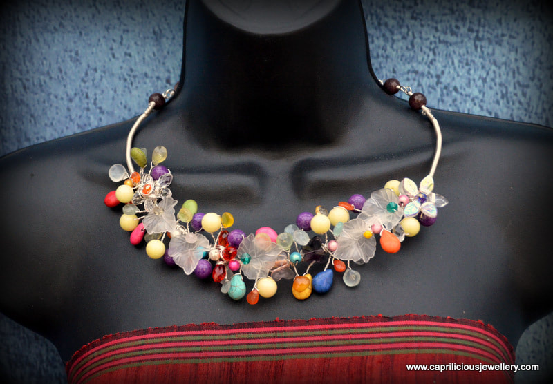 Gemstone and wire statement necklace by Caprilicious Jewellery