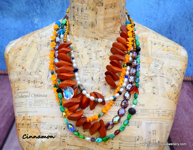 Cinnamon - multi strand statement necklace by Caprilicious Jewellery