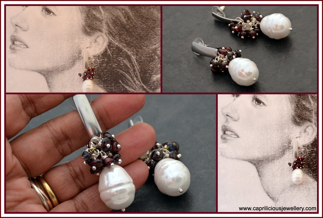 earrings,garnet earrings, baroque pearls, sophisticated earrings, stud earrings