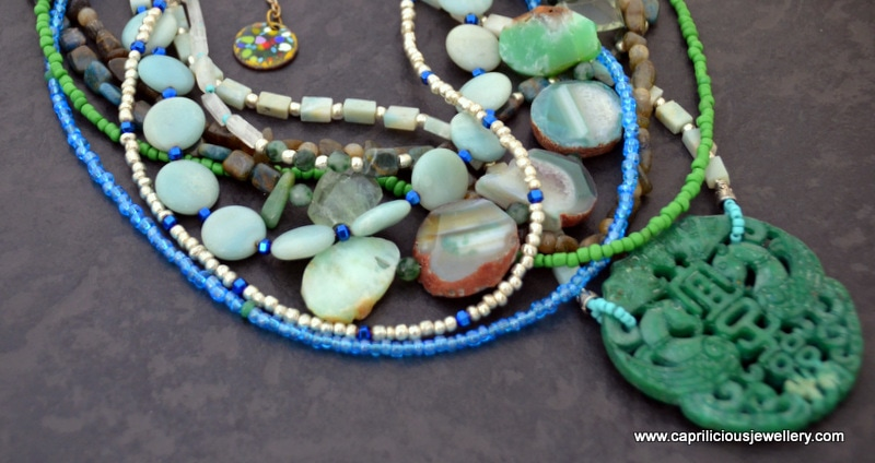 Handcarved Chinese jade pendant, with aventurine, labradorite, and green agate beads multistrand necklace by Caprilicious Jewellery