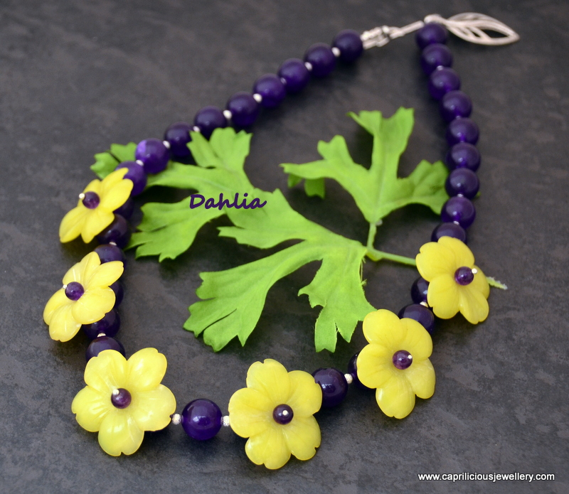 Dahlia - handcarved jade and purple agate by Caprilicious Jewellery