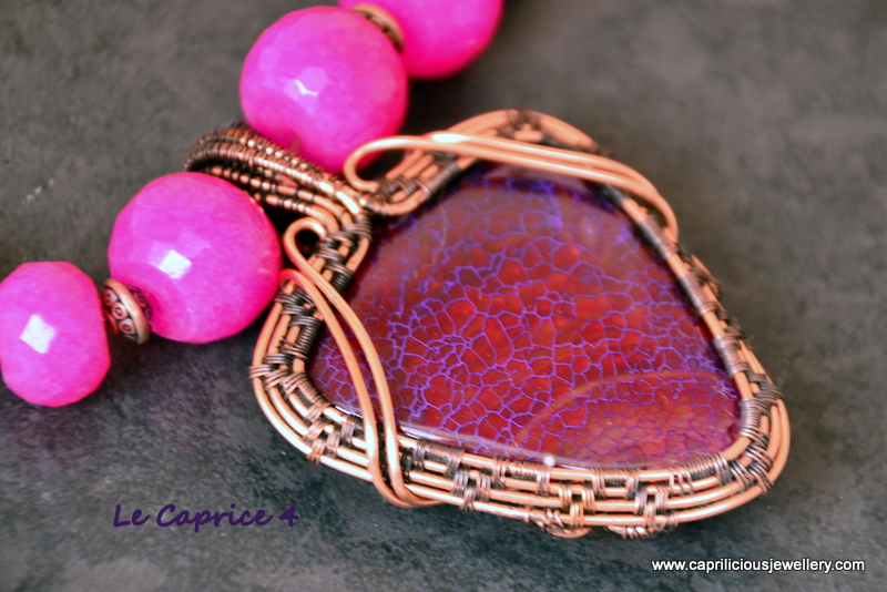 Le Caprice - a series of four wire wrapped purple agate pendants by Caprilicious