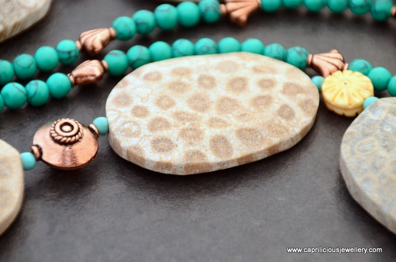 Fossil Coral slab nugget, hand carved bone flowers and turquoise and copper bead necklace by Caprilicious Jewellery