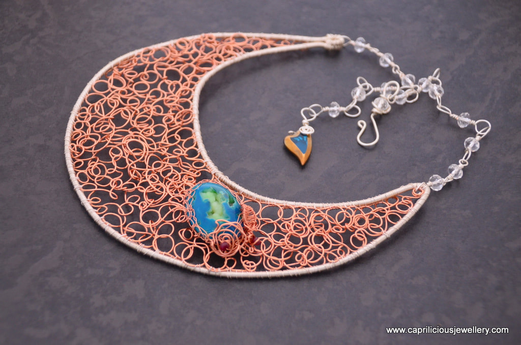 Bubbles, a wire doodle bib necklace by Caprilicious Jewellery