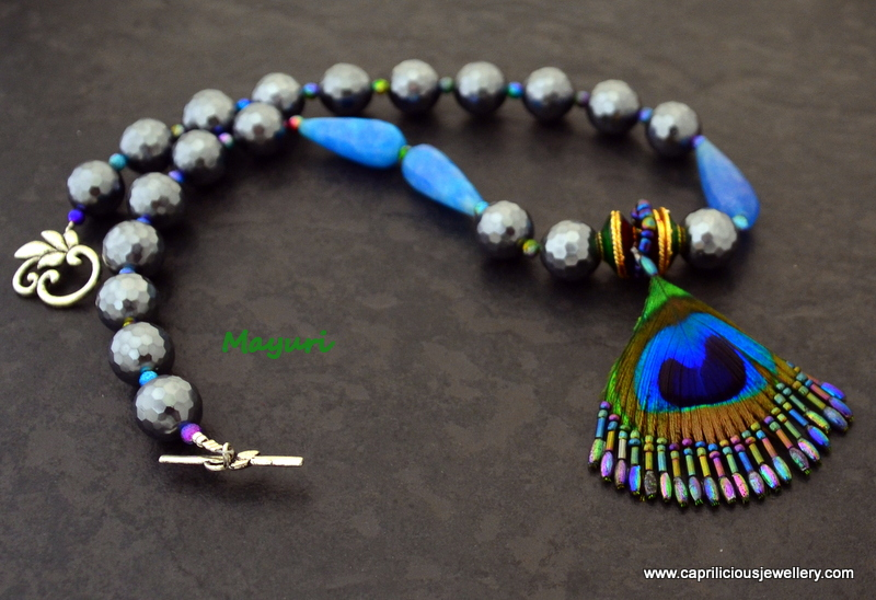 Mayuri - peacock feather and shell pearls/ blue agate by Caprilicious Jewellery