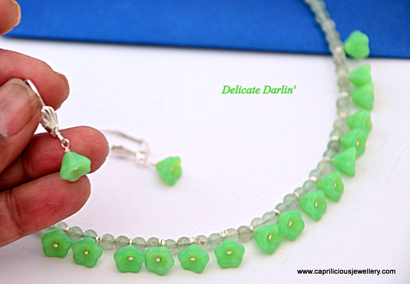 Delicate Darlin' - a green aventurine and Czech flower necklace, decorative paisley sterling silver clasp with earrings by Caprilicious Jewellery