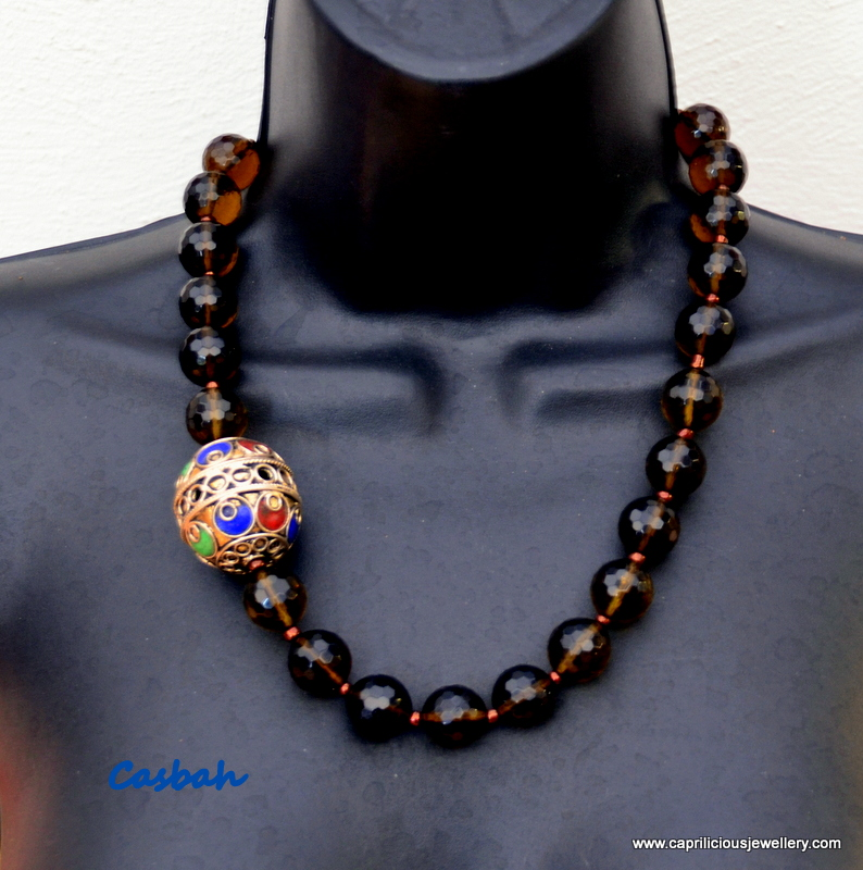 Casbah - smoky quartz and a Moroccan focal bead from Caprilicious Jewellery