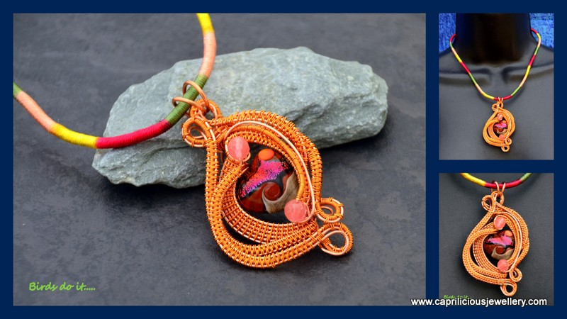 Birds Do It, Bees Do It... lampwork glass and wirewoven pendant by Caprilicious Jewellery