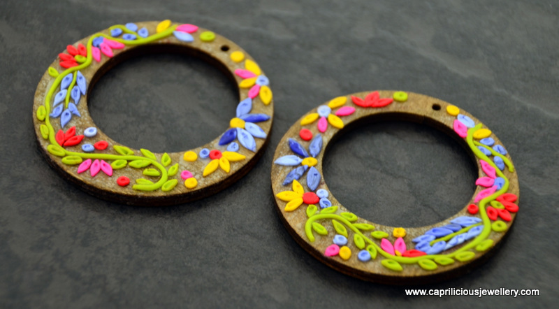 Polymer clay embroidered hoop earring components by Caprilicious Jewellery