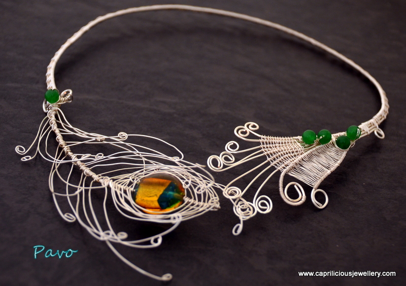 Pavo - peacock feather torque necklace by Caprilicious Jewellery