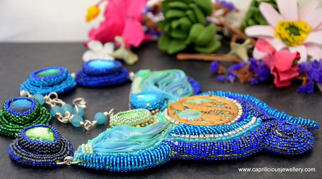 Bead embroidery, statement necklace, crystals, shibori jewellery, shibori ribbon uk, seahorse aquatic jewellery, blue and green necklace