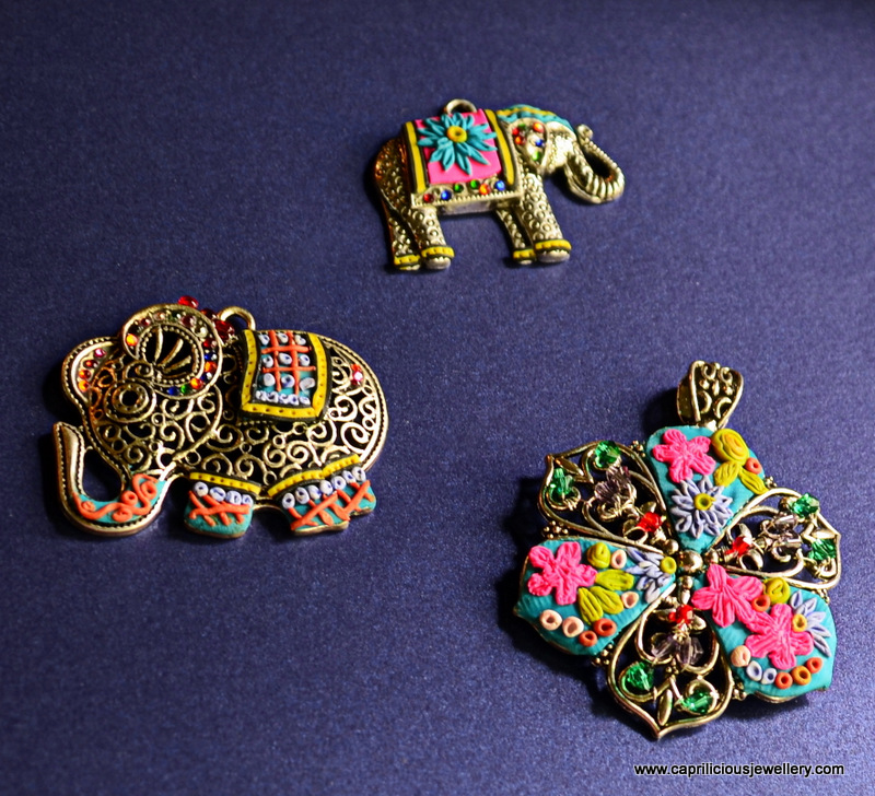 Polymer clay embroidered pendants by Caprilicious Jewellery
