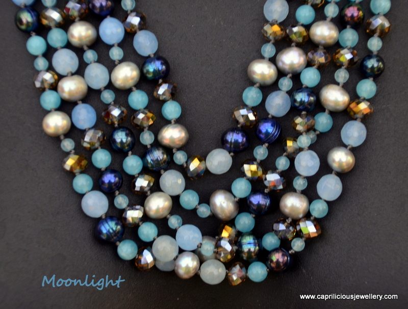 Blue Jade and pearl necklace by Caprilicious Jewellery