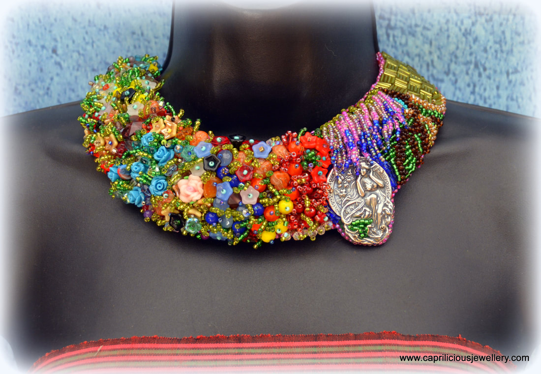 statement necklace, hope jewellery, covid donation, NHS donation, beaded embroidery , floral jewellery, Vintaj