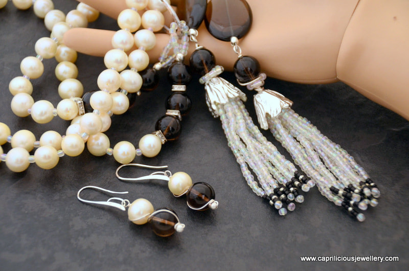 Pearl and smoky glass lariat necklace by Caprilicious Jewellery
