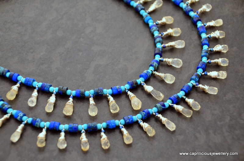 Citrine teardrops, sea sediment jasper and turquoise in an Egyptian style necklace by Caprilicious