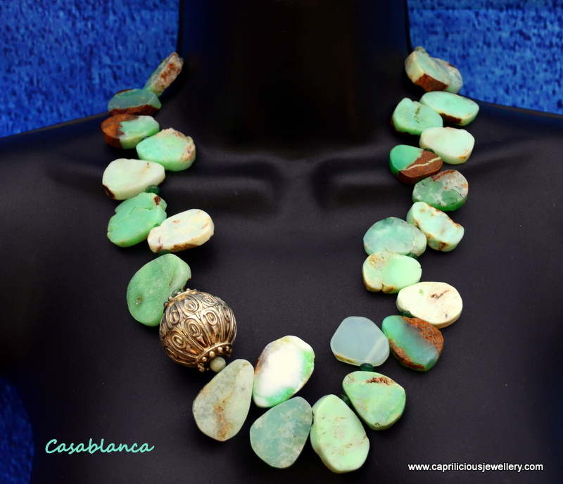 Amazonite slab nugget and Moroccan bead necklace by Caprilicious Jewellery