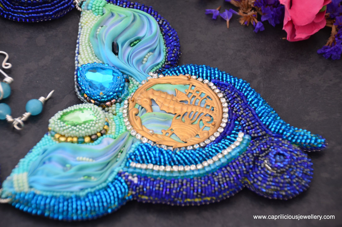 seahorse jewellery, aquatic jewellery, statement necklace, shibori necklace,