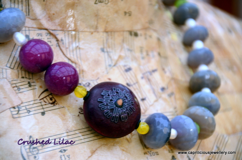 Lilac agate and polymer clay necklace by Caprilicious Jewellery