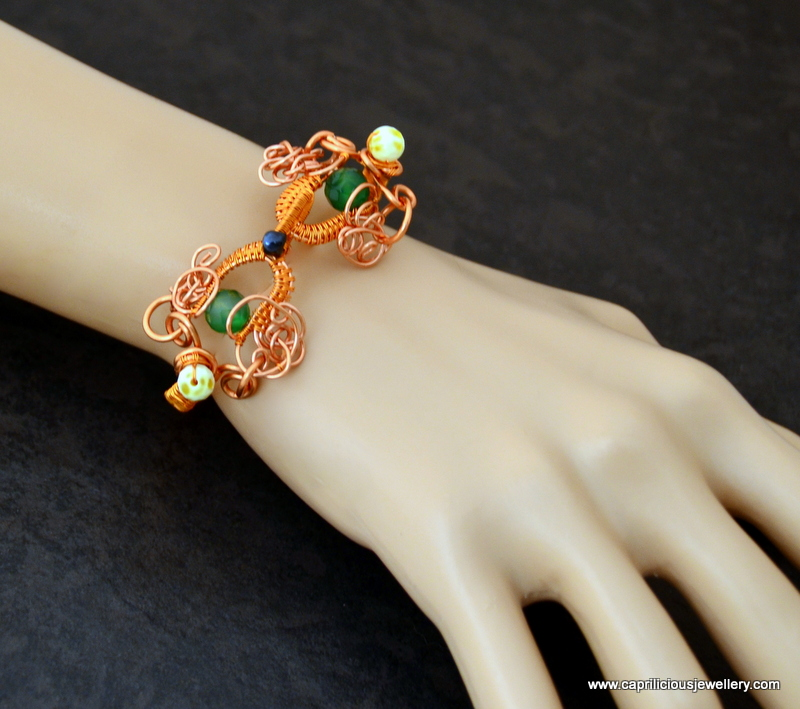 Sweet Swirls - copper wire bracelet by Caprilicious Jewellery