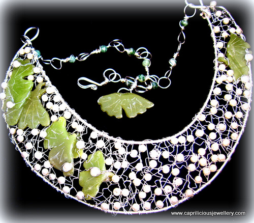 Dew Fairy Dreams - a polymer clay and pearl necklace and earrings by Caprilicious Jewellery
