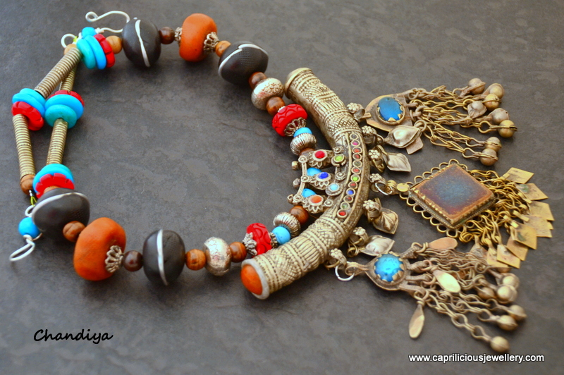 Chandiya - Banjara jewellery, tribal belly dancing necklace with handmade polymer clay beads by Caprilicious Jewellery
