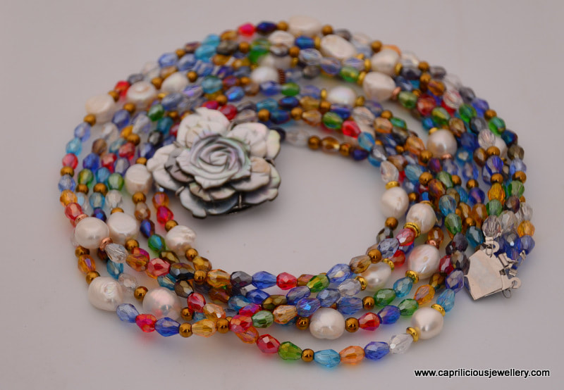 Multicolour crystal and baroque pearl necklace, Bling by Caprilicious Jewellery