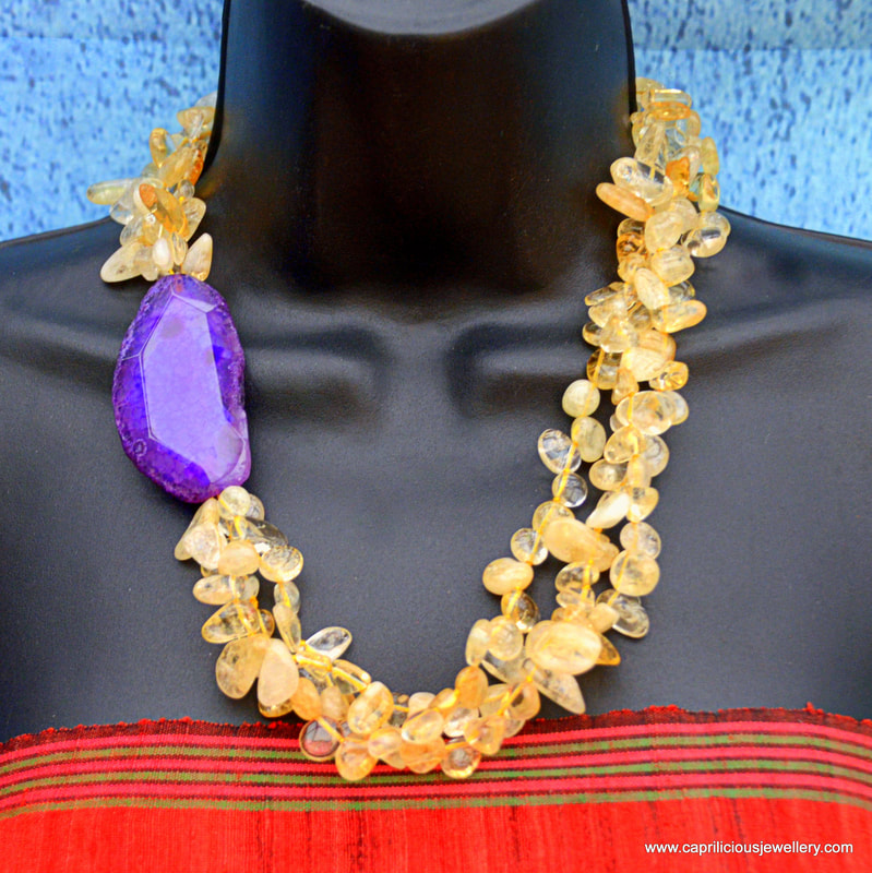 |Citrine, slab nugget, statement necklace, teardrops, dragons vein agate, colourful jewellery