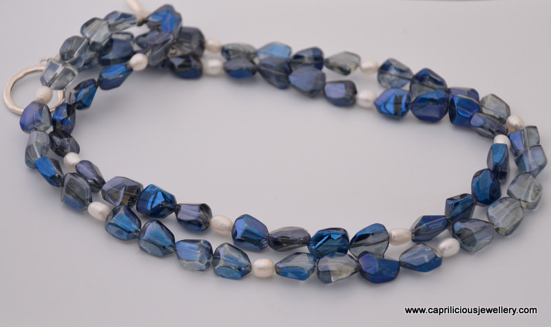 Blue glass and pearl necklace by Caprilicious Jewellery