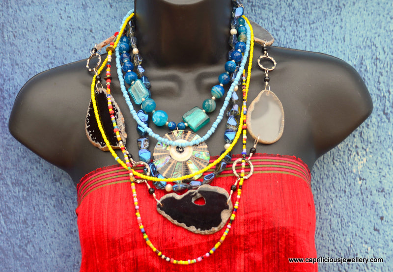 Multi strand, statement necklace, blue necklace, Caprilicious Jewellery