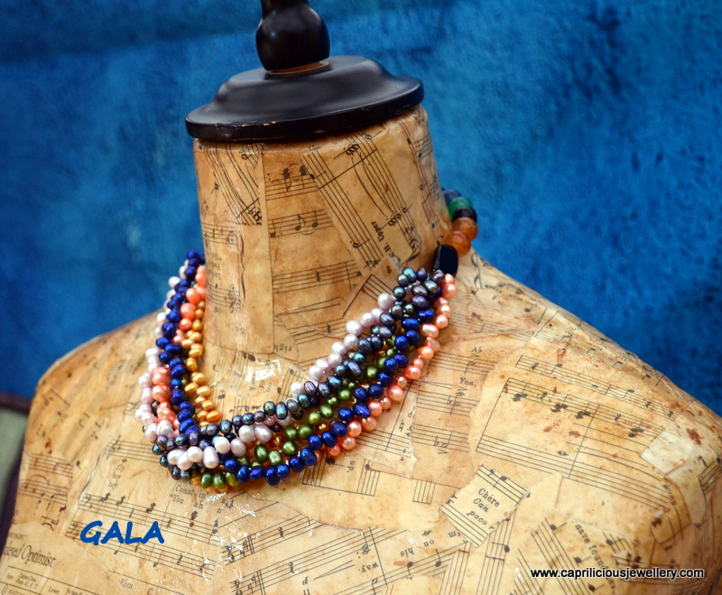 Gala - multistrand pearl and agate necklace from Caprilicious Jewellery