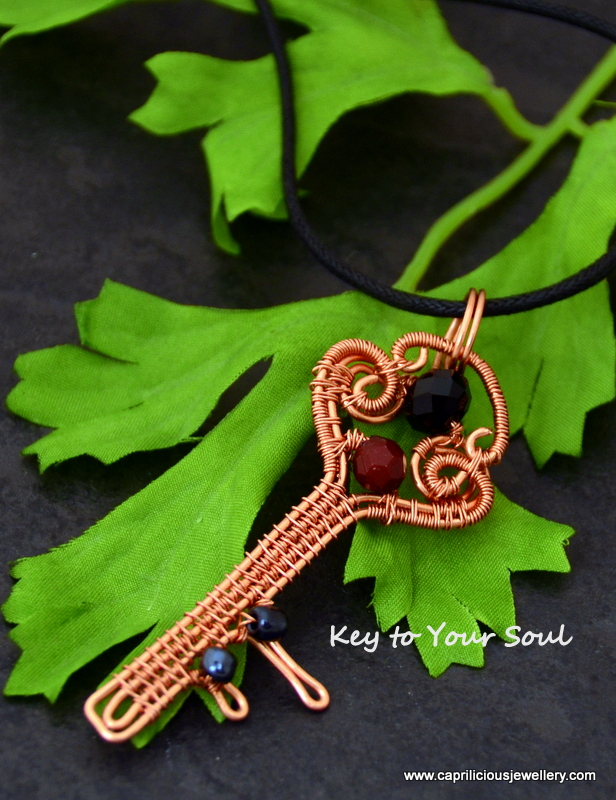 Copper wire key pendant from Caprilicious Jewellery