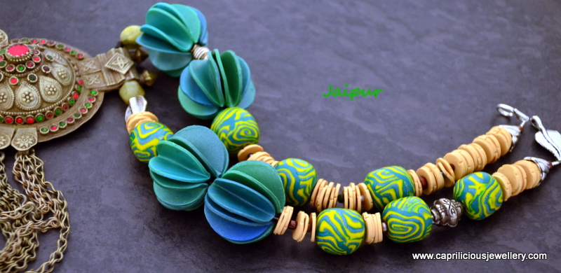 Jaipur - Afghani pendant with polymer clay beads by Caprilicious Jewellery