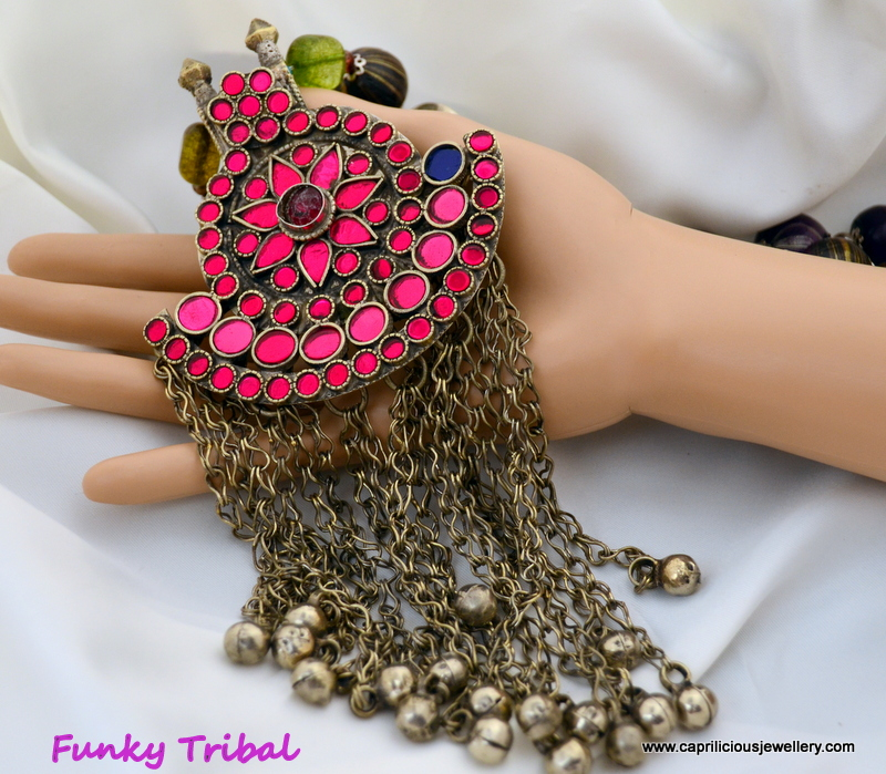 The Funky Tribal - Vintage Kuchi pendant and polymer clay beads by Caprilicious Jewellery