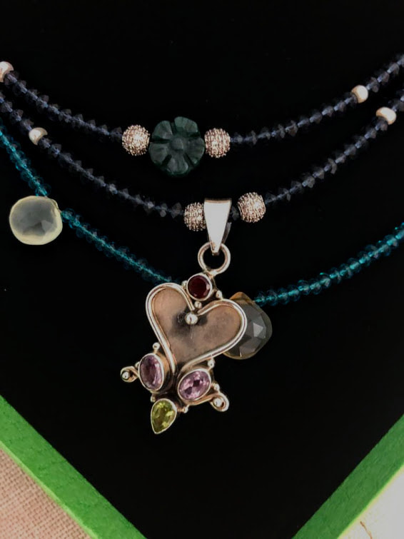 sterling silver, iolite, neon apatite, seed pearls, stacked necklaces