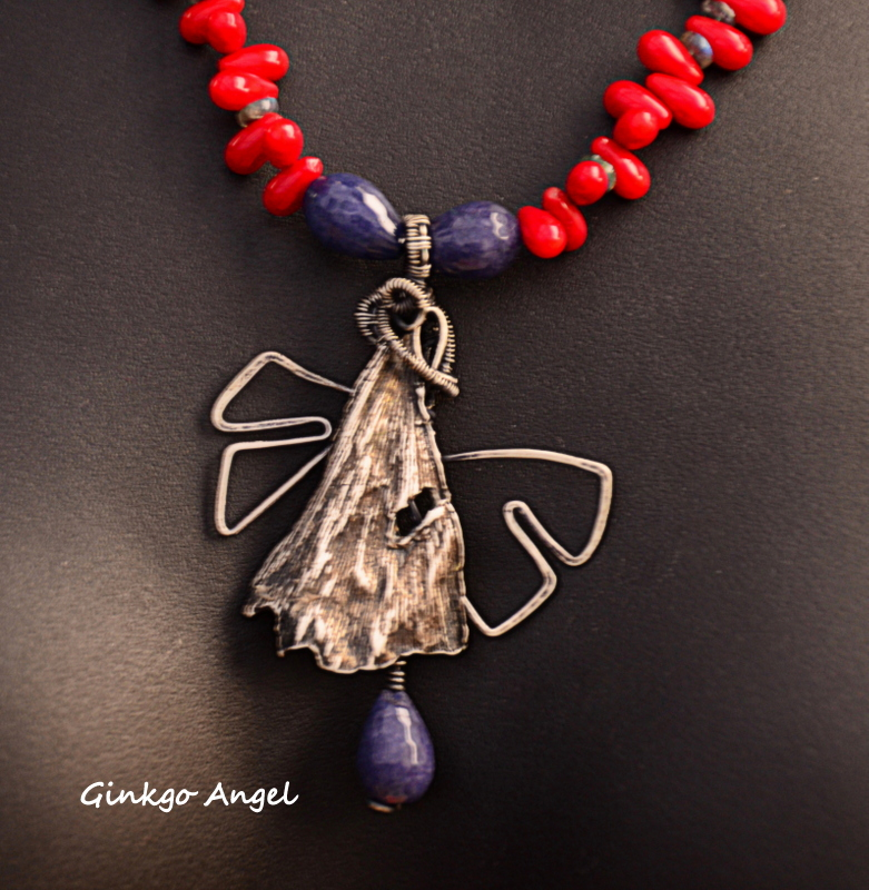 PMC and sterling wire ginkgo leaf angel pendant on a coral teardrop necklace by Caprilicious Jewellery