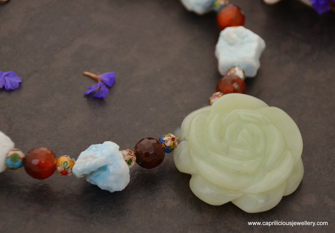 Carved Aventurine rose, hemimorphite raw nugget beads and faceted carnelian on memory wire