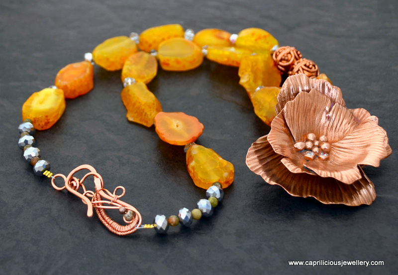 Georgia on my Mind - Copper clay flower pendant, orange agate slab nugget necklace, hand made wire copper clasp by Caprilicious Jewellery