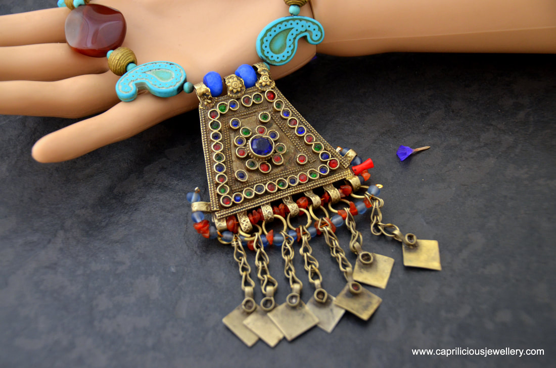 Mehfil- vintage Afghani pendant with carnelian and howlite by Caprilicious Jewellery