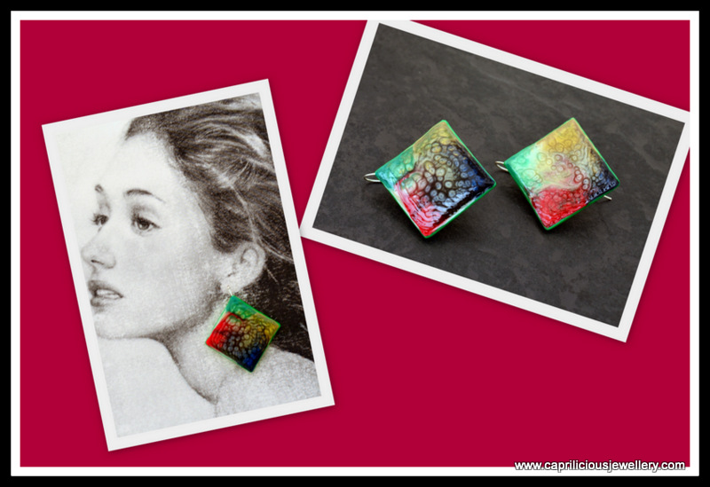 Handmade Polymer clay and resin earrings by Caprilicious Jewellery