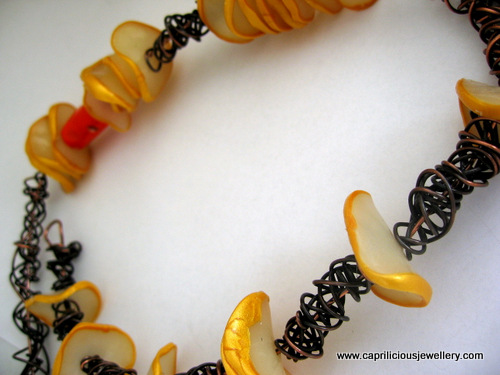Polymer clay and wire necklace by Caprilicious Jewellery