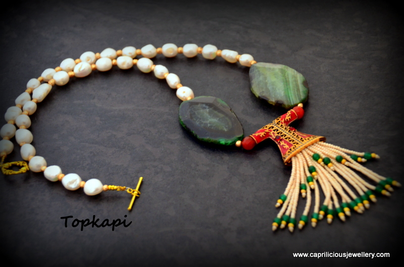 Turkish kaftan tassel pendant and pearl/green agate slab nugget necklace by Caprilicious Jewellery