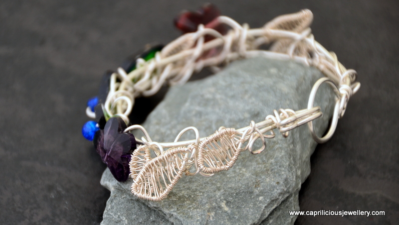 Clarice - polymer clay and wire leaf bracelet by Caprilicious Jewellery
