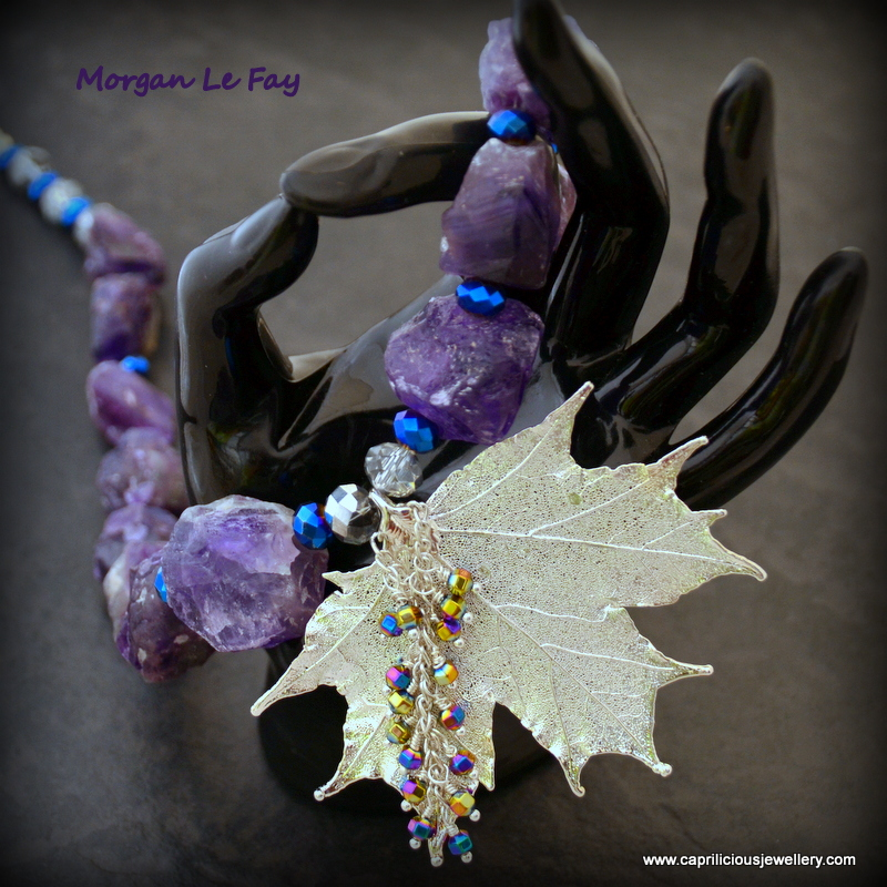Sugar maple leaf skeleton pendant with rough cut amethyst nuggets by Caprilicious Jewellery